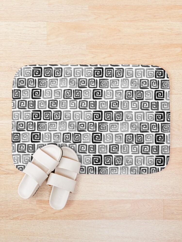 Alternate view of Greek Key Pattern - Monochrome Bath Mat
