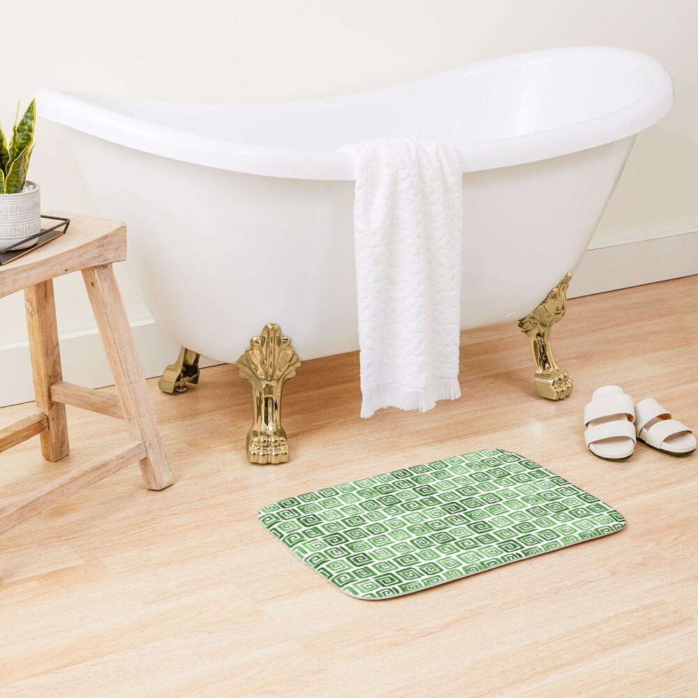 Greek Key Pattern - Green Bath Mat