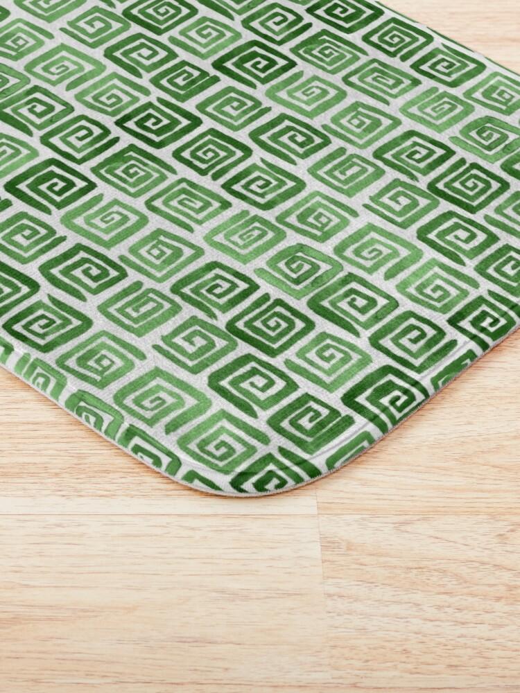 Alternate view of Greek Key Pattern - Green Bath Mat