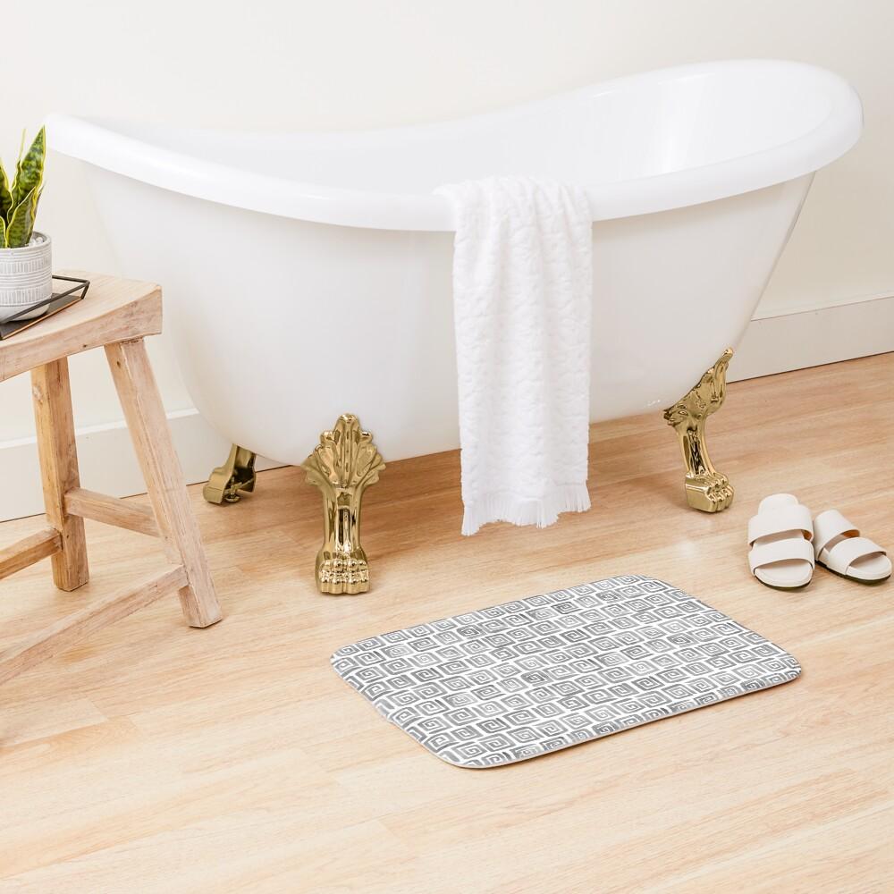 Greek Key Pattern - Greyscale Bath Mat