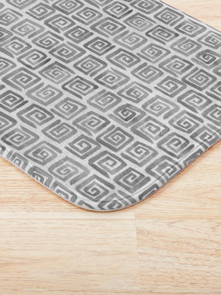 Alternate view of Greek Key Pattern - Greyscale Bath Mat