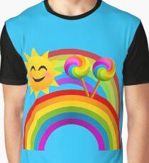 Sunshine, Lollipops and Rainbows Happy Day Joypixels Emoji Graphic T-Shirt