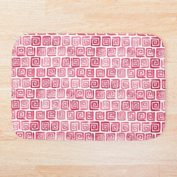 Watercolor Greek Key Pattern - Pink Bath Mat