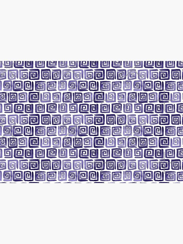 Watercolor Greek Key Pattern - Purple by annieparsons