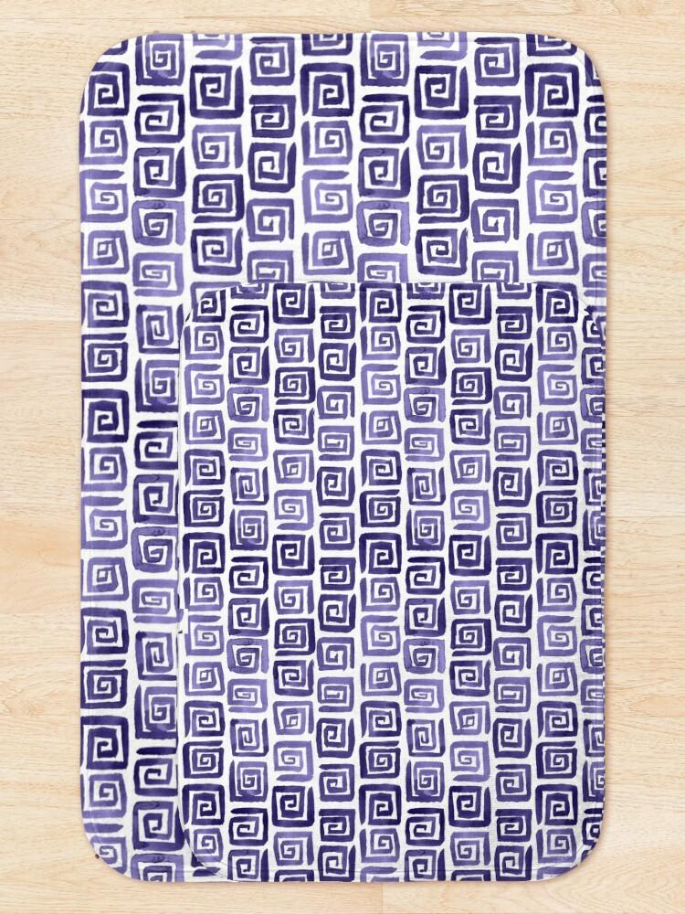 Alternate view of Watercolor Greek Key Pattern - Purple Bath Mat