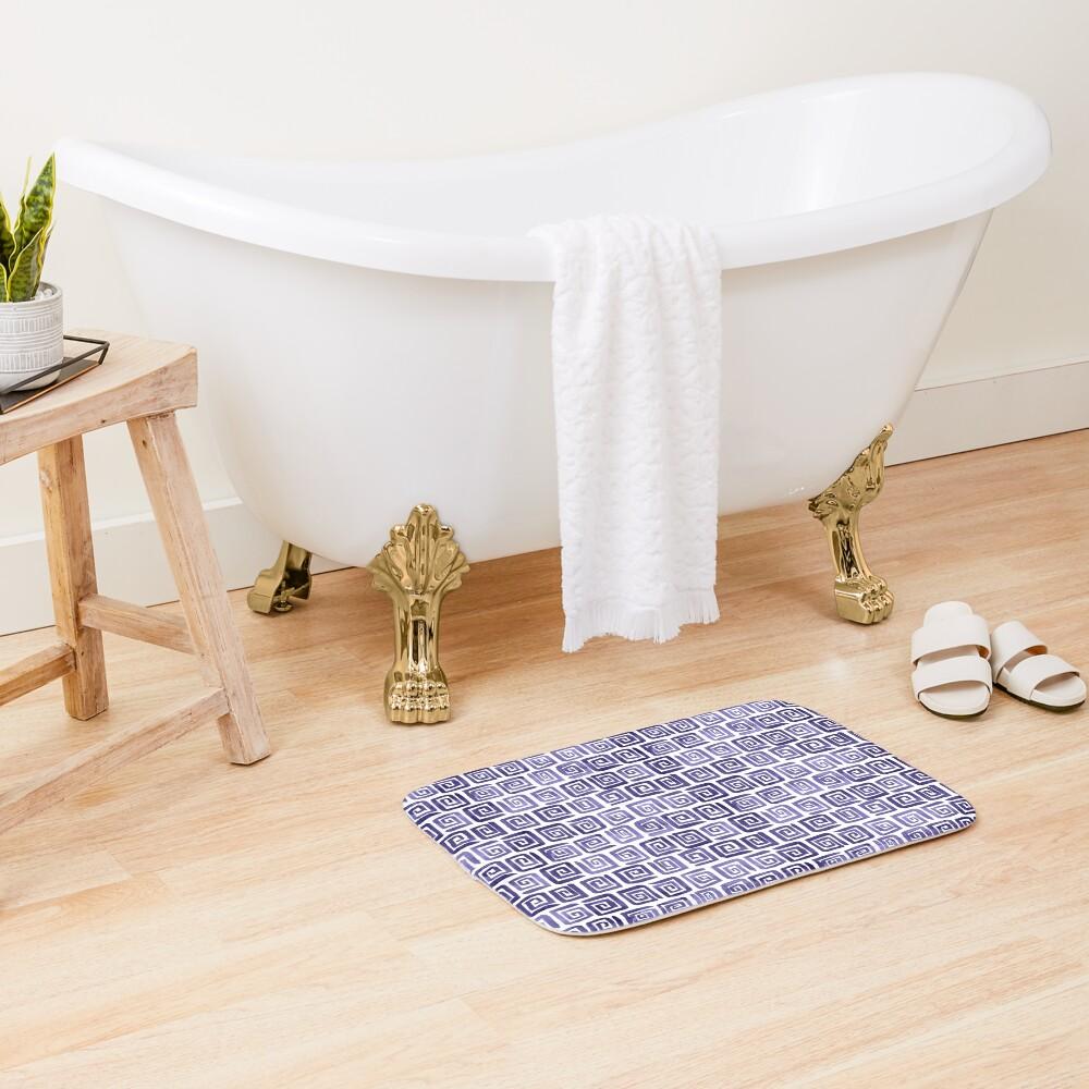 Watercolor Greek Key Pattern - Purple Bath Mat
