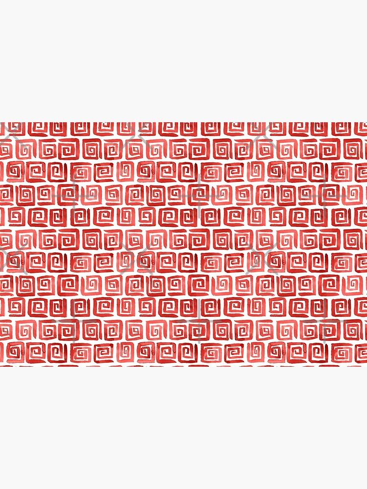 Watercolor Greek Key Pattern - Red by annieparsons