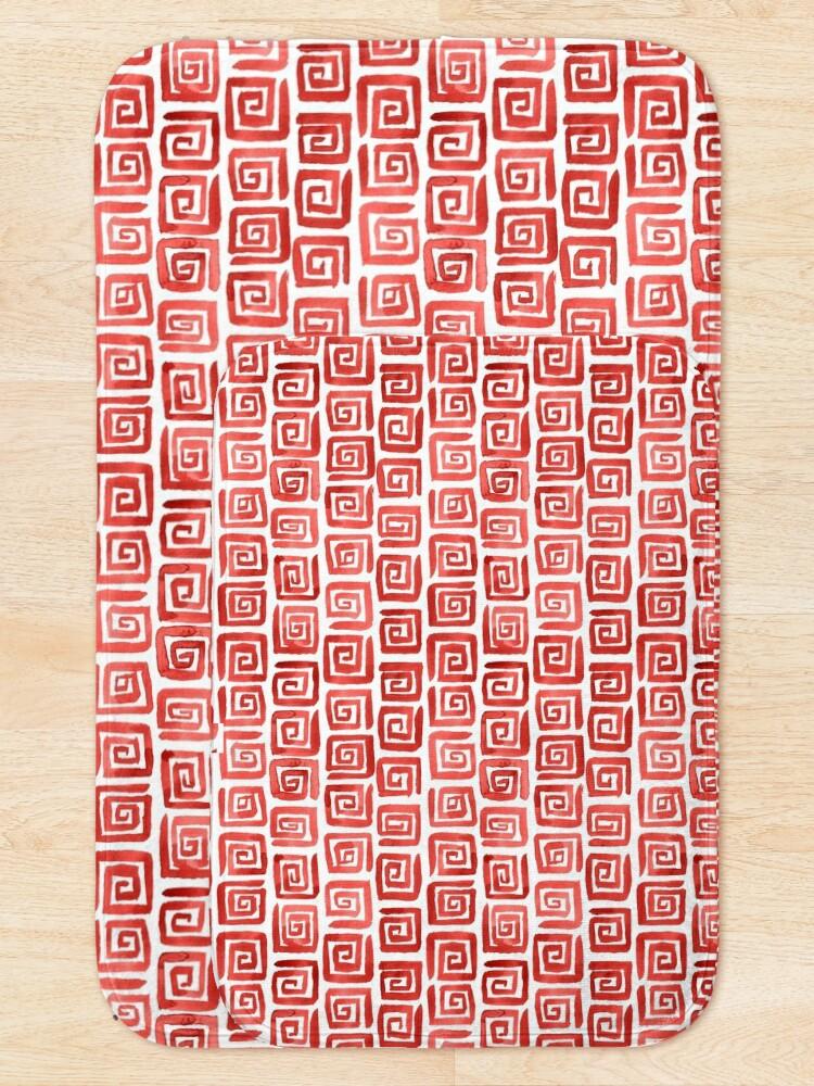 Alternate view of Watercolor Greek Key Pattern - Red Bath Mat