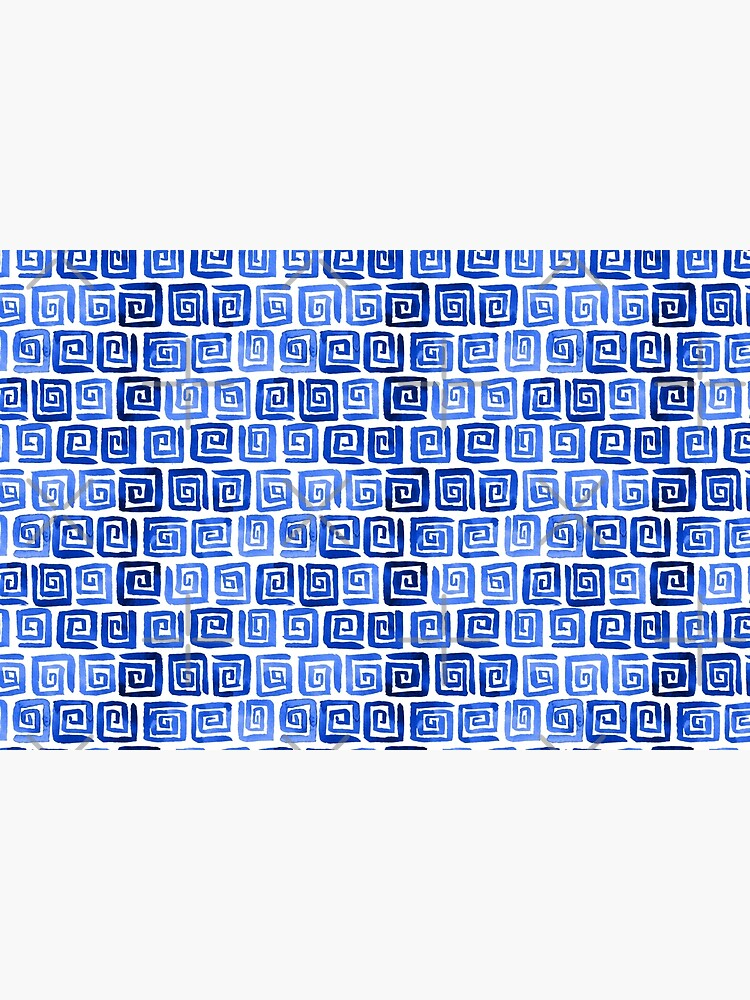 Watercolor Greek Key Pattern - Royal Blue by annieparsons
