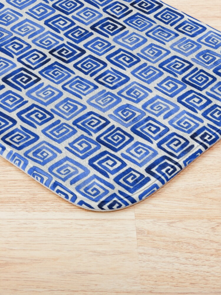 Alternate view of Watercolor Greek Key Pattern - Royal Blue Bath Mat