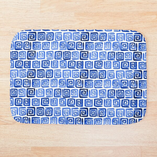 Watercolor Greek Key Pattern - Royal Blue Bath Mat