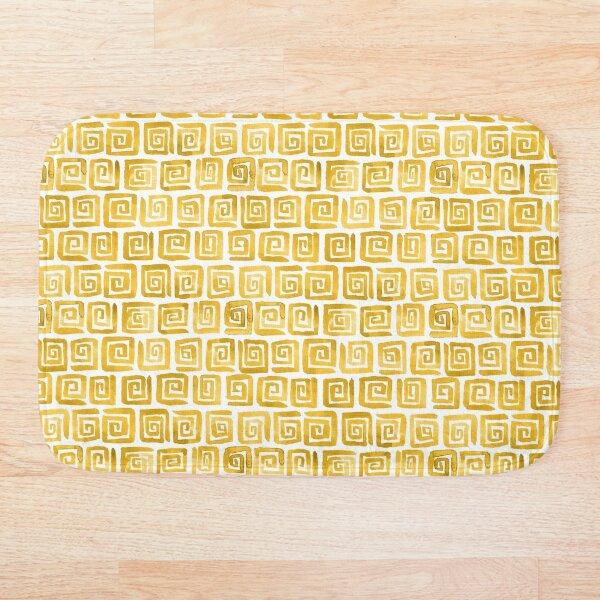 Watercolor Greek Key Pattern - Mustard Yellow Bath Mat