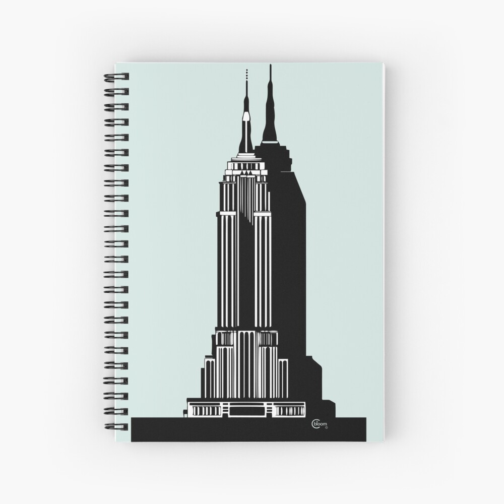 Empire State Building Deco Swing in blue Spiral Notebook