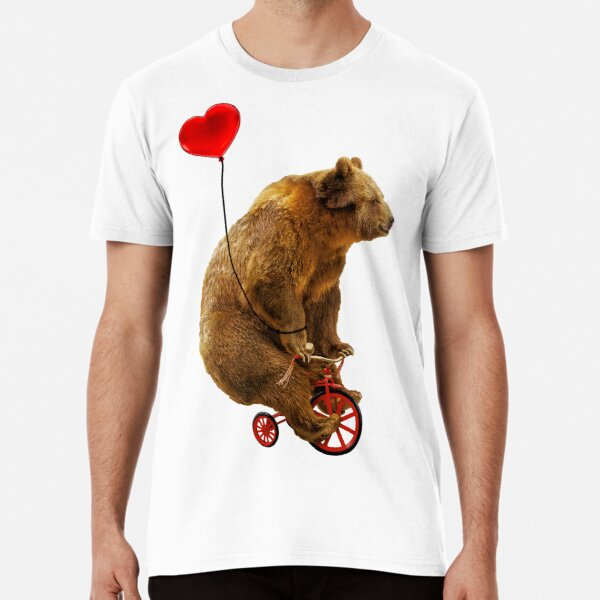 Grizzly Bear Riding a Red Tricycle with Heart Balloon Premium T-Shirt
