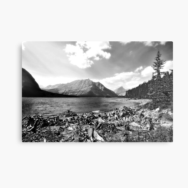 Back and White Mountain Range and Water Metal Print