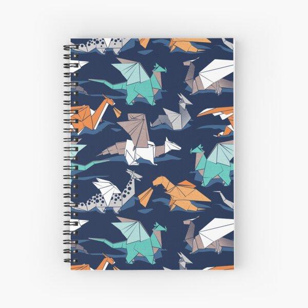 Origami dragon friends // oxford navy blue background Spiral Notebook