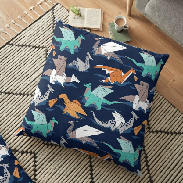 Origami dragon friends // oxford navy blue background Floor Pillow