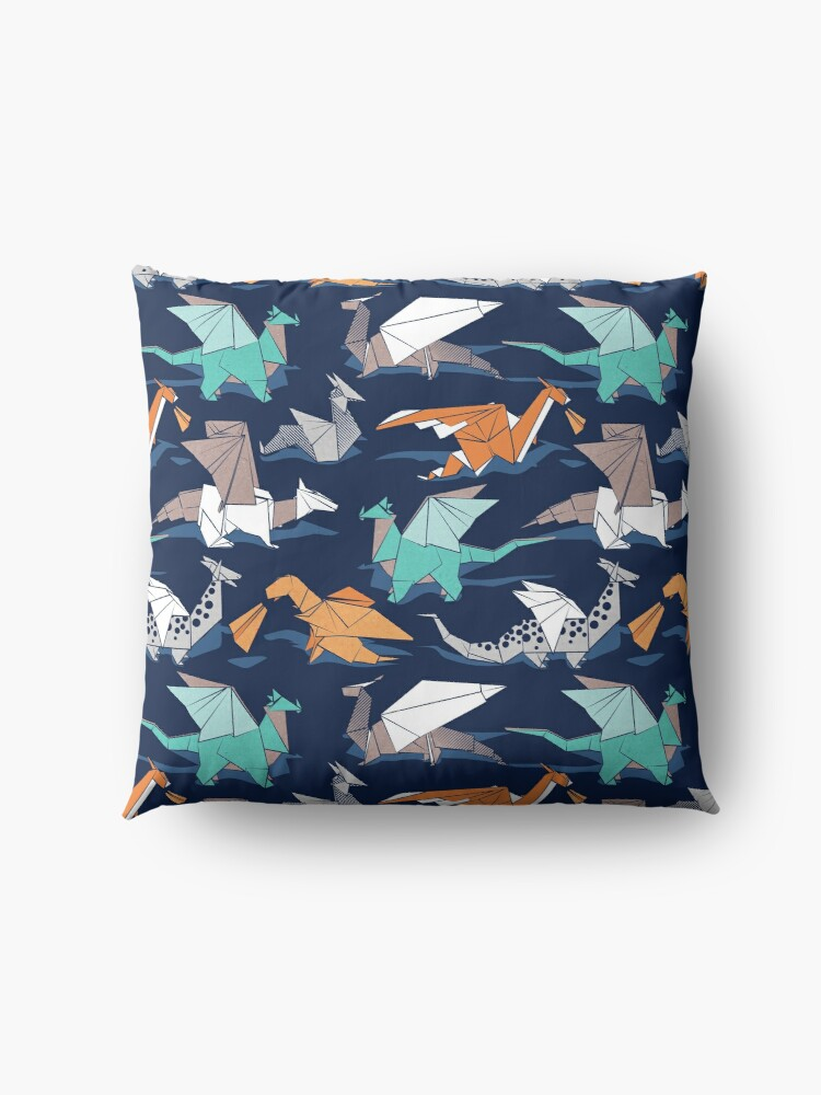 Alternate view of Origami dragon friends // oxford navy blue background Floor Pillow