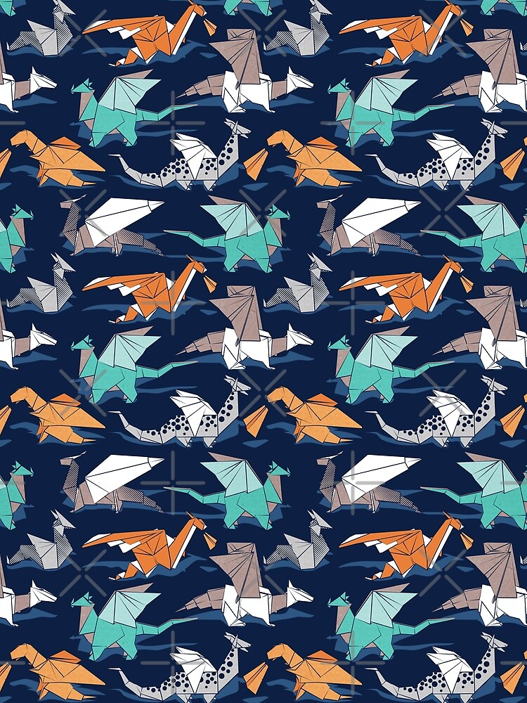 Origami dragon friends // oxford navy blue background by SelmaCardoso