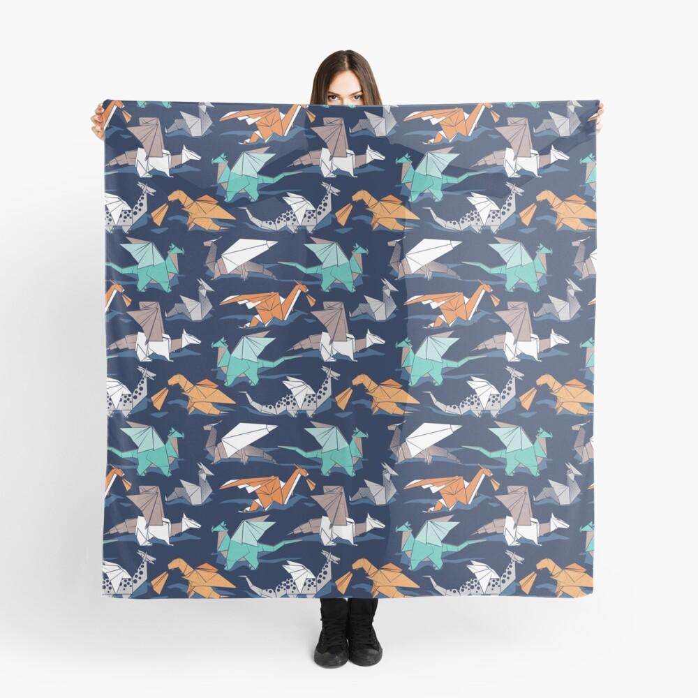 Origami dragon friends // oxford navy blue background Scarf
