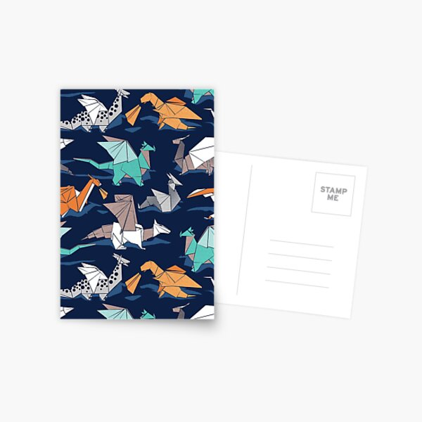 Origami dragon friends // oxford navy blue background Postcard