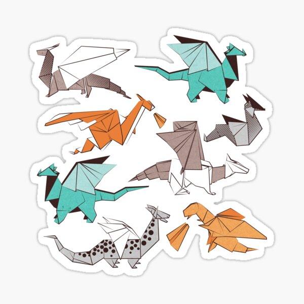 Origami dragon friends // oxford navy blue background Sticker