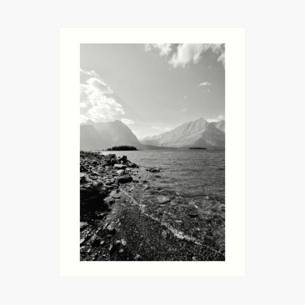 Black and White Upper Kananaskis Lake and Mountains, Alberta, Canada Art Print