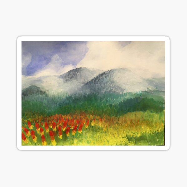 """""""flowers in the foothills,"""" original painting by mjh, 12-15-2018 Sticker"""