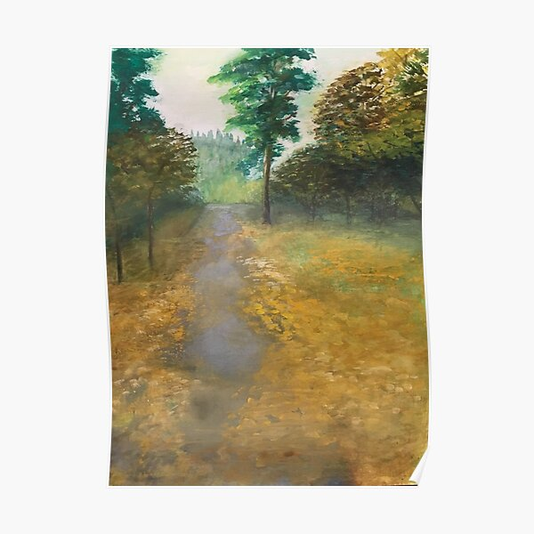 """""""forest cemetery path,"""" original painting by mjh, 12-30-2018 Poster"""