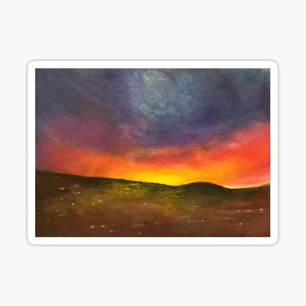 """jerusalem sunset,"" original painting by mjh, 01-12-2019 Sticker"