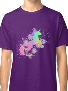 Fantasy Rainbow Paint Splattered Unicorn Classic T-Shirt