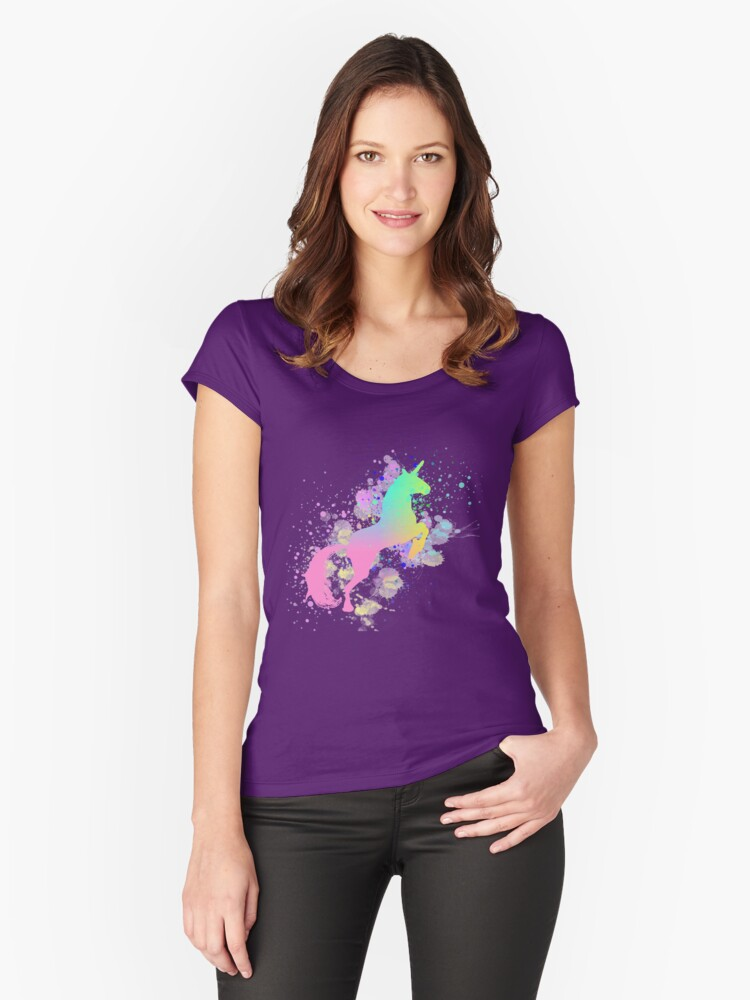 Fantasy Rainbow Paint Splattered Unicorn Women's Fitted Scoop T-Shirt Front