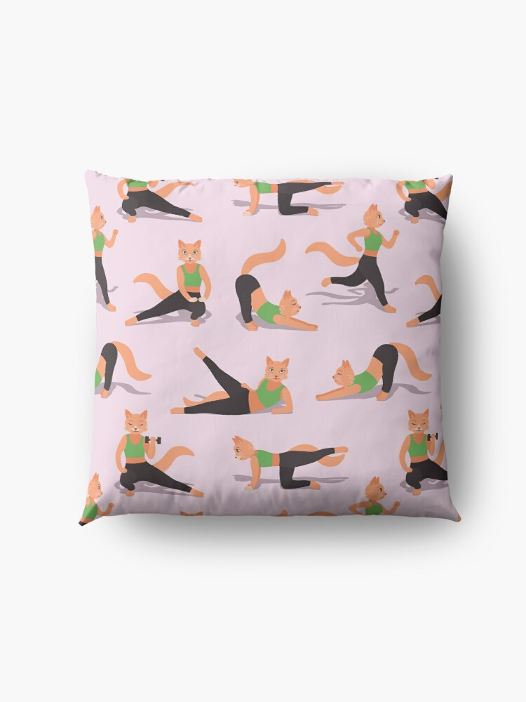 Alternate view of Ginger Fitness Cats (with stickers) Floor Pillow