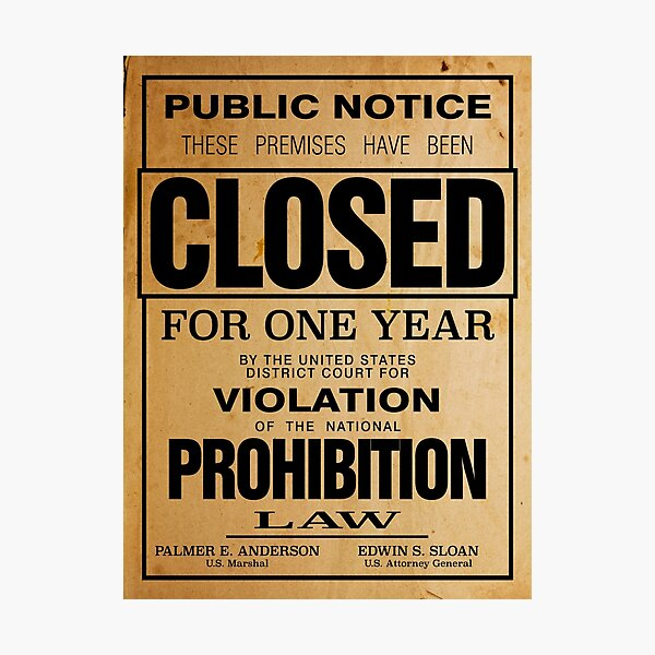 Prohibition Poster Or Print Reproduction Photographic Print