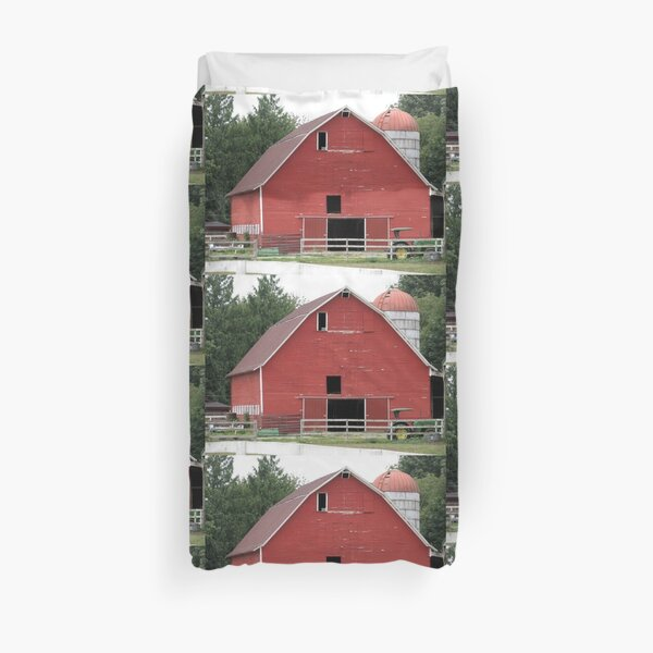 Antique Red Dairy Barn of Washington State, farming, cows, rancher, ranch, rural  Duvet Cover