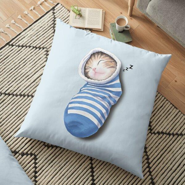 Cat in the sock Floor Pillow