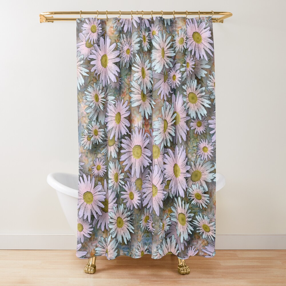 SHASTA DAISIES PINK AND BLUE COLLAGE Shower Curtain