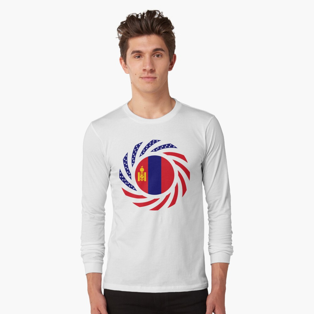 Mongolian American Multinational Patriot Flag Series Long Sleeve T-Shirt
