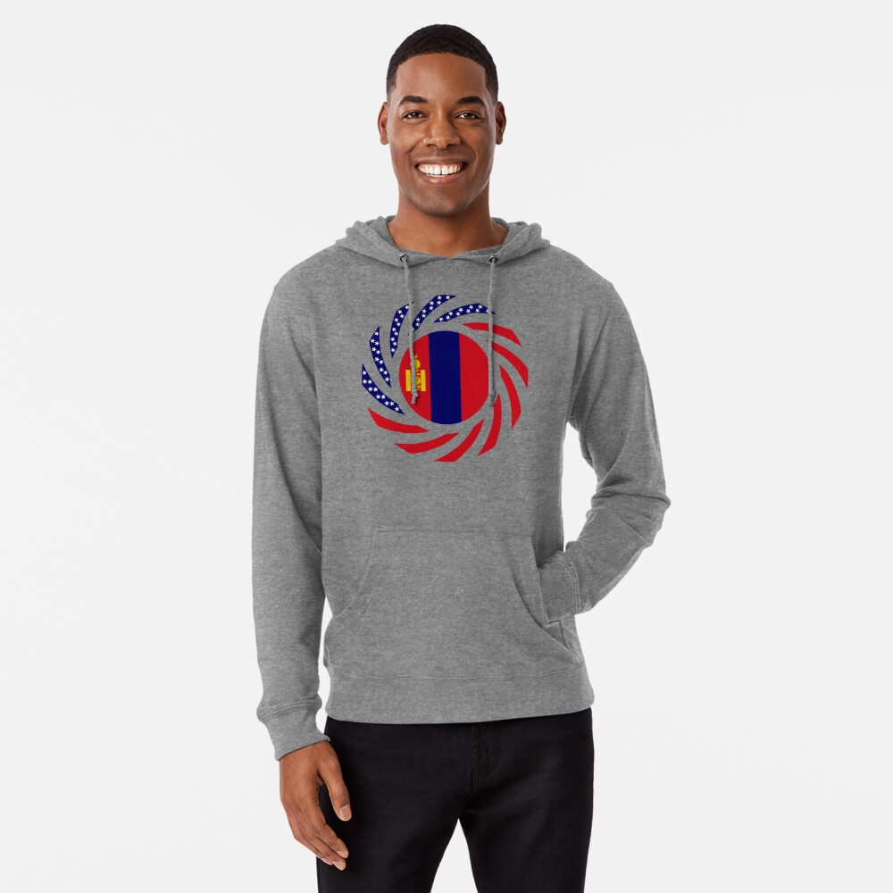Mongolian American Multinational Patriot Flag Series Lightweight Hoodie