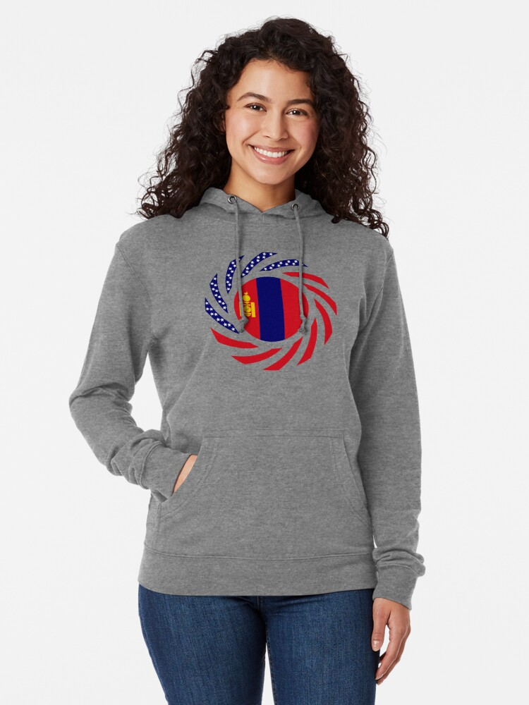 Alternate view of Mongolian American Multinational Patriot Flag Series Lightweight Hoodie