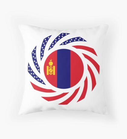 Mongolian American Multinational Patriot Flag Series Throw Pillow