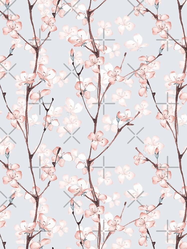Blühen. Aquarell nahtlose Blumenmuster von Gribanessa