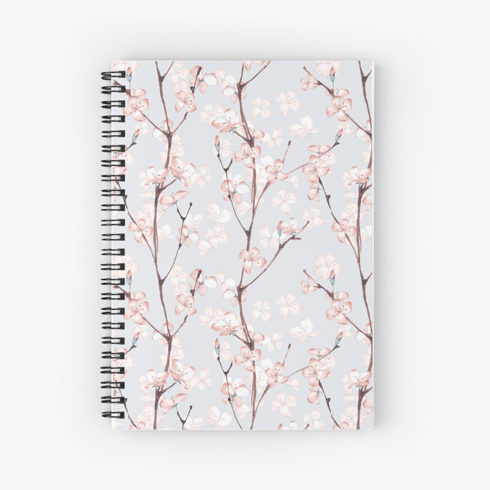 Blossom. Watercolor seamless floral pattern Spiral Notebook