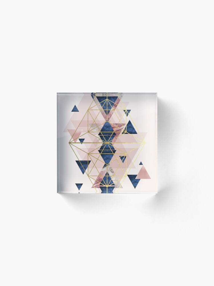 Alternate view of Blush Pink and Navy Geometric Perfection Acrylic Block