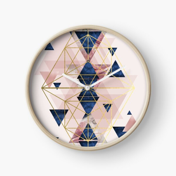 Blush Pink and Navy Geometric Perfection Clock