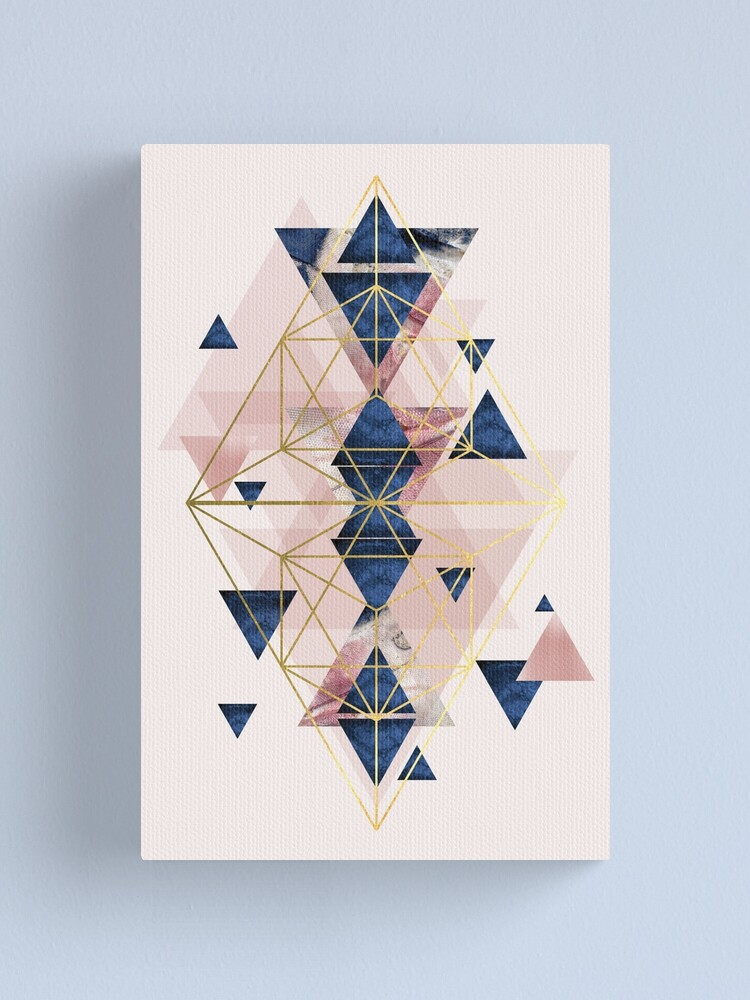 Alternate view of Blush Pink and Navy Geometric Perfection Canvas Print