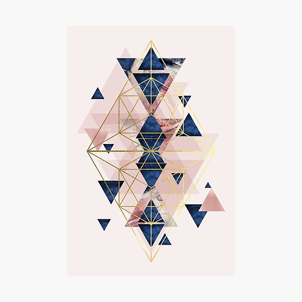 Blush Pink and Navy Geometric Perfection Photographic Print