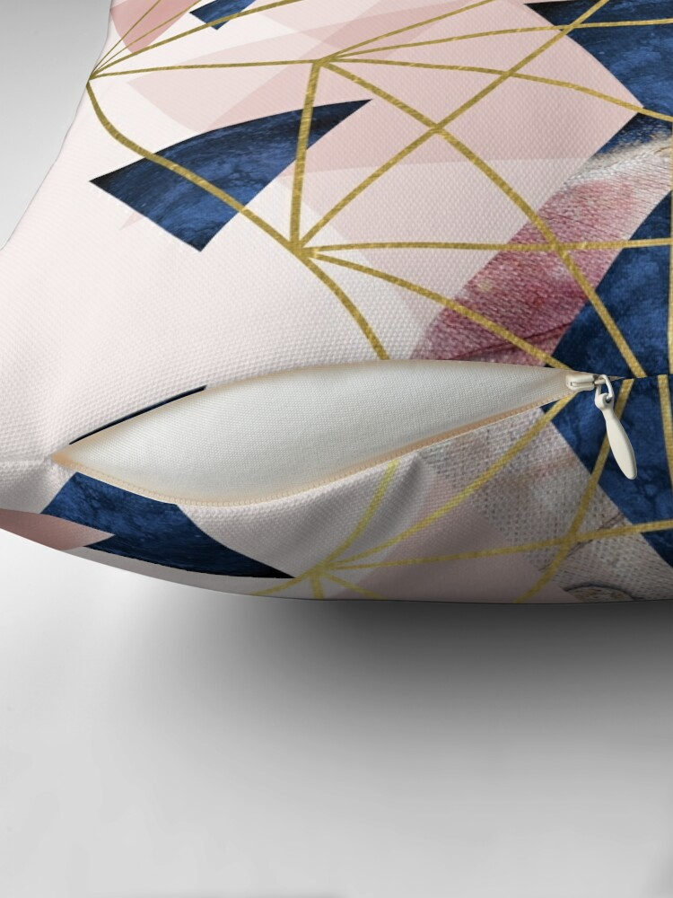 Alternate view of Blush Pink and Navy Geometric Perfection Throw Pillow