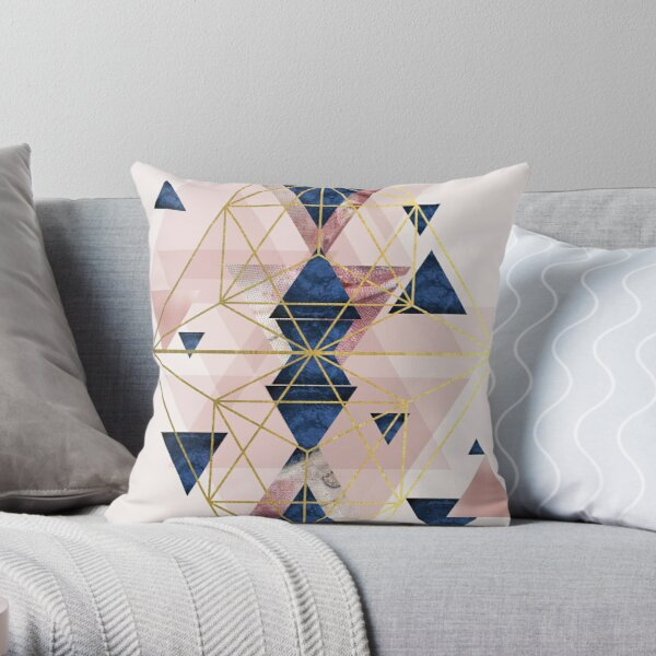 Blush Pink and Navy Geometric Perfection Throw Pillow