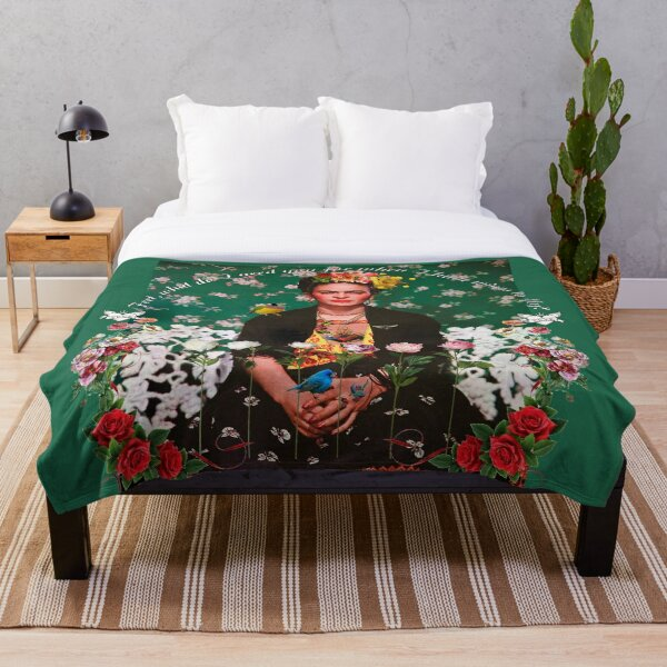 Wings to Fly Frida Kahlo Throw Blanket